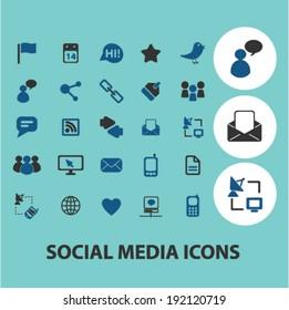 social media blog icons, signs set, vector