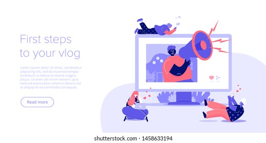 Social media blog or vlog concept in flat vector illustration design. Young blogger with megaphone get feedback and likes from followers. Online influencer marketing template layout for web banner.