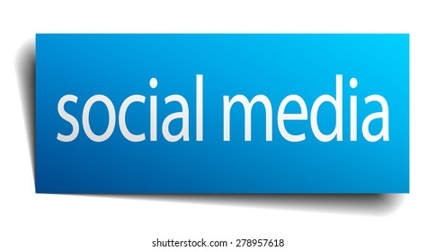 social media blue paper sign isolated on white