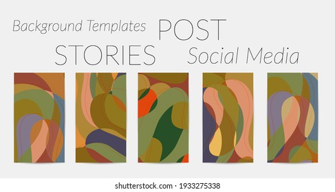 Social media booster background set. Art terrazzo pattern with wavy shapes and lines in earthy natural color for holiday seasonal sale story post. Instagram advertising marketing technologies.