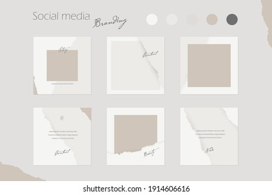 social media branding template,  Instagram background mockup in nude colors with abstract torn rip paper texture. for beauty, cosmetics, fashion, jewelry, makeup content creators. Vector illustration