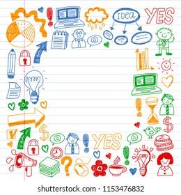 Social media and business icons. Patterns on black backgroud. Chalk illustration on blackboard. Management, teamwork.