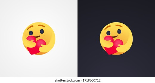 Social Media Care emoji hugging a heart. Symbol of care and support, show the love for loved ones who are a very long distance for me