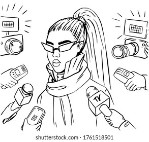 Social media celebtiry interviewed by paparazzi black and white concept illustration in retro comic style