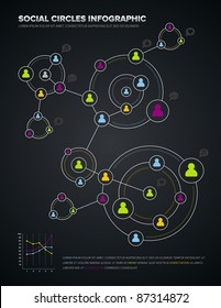 Social media circles infographic and design elements