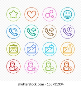 Social Media color line icons on White Background - Vector illustration