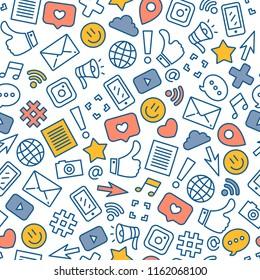 Social media colored seamless pattern. Internet messenger background. Vector illustration