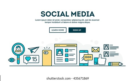 Social media, colorful concept header, flat design thin line style, vector illustration