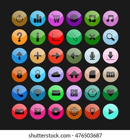 Social and media colorful glass buttons. Vector icons