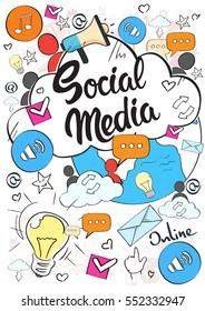 Social Media Communication Concept Internet Network Connection People Doodle Hand Draw Sketch Background Vector Illustration