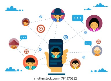 Social Media Communication And Connection Concept With Hand Holding Smart Phone And Asian People Avatars Chatting Flat Vector Illustration