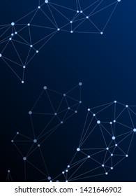 Social media communication digital concept. Network nodes plexus dark blue background. Nodes and lines polygonal connections. Wireframe minimal design. Global social media network space vector.