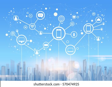 Social Media Communication Internet Network Connection City Skyscraper View Cityscape Background Vector Illustration