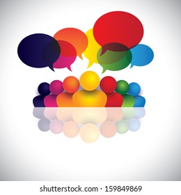 social media communication or office staff meeting or kids talking. The vector also represents people conference, social media interaction & engagement, children, employee discussions, leadership