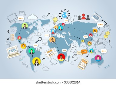 Social Media Communication World Map Concept Internet Network Connection People Doodle Hand Draw Sketch Background Vector Illustration