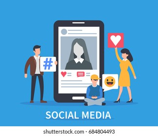Social media concept banner. Flat style vector illustration.
