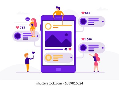 Social media concept banner with phone and small people around it having chat, mailing with likes and photos. Vector illustration in flat design with smartphone isolated on white background.