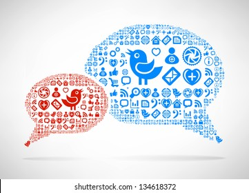 Social Media concept. Cloud icon in the form of speech bubble