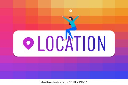 Social media concept group of people with instagram location sticker. Business working, marketing, teamwork, business strategy and analytics. Vector illustration for website and mobile development.