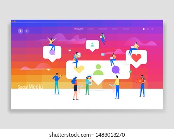 Social media concept group of people with like, comment, follower icon. Business working, marketing, teamwork, business strategy and analytics. Vector illustration for website and mobile development.