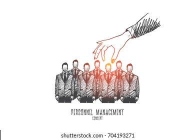 Social media concept. Hand drawn group of workers and hand of manager above them. Recruiter select employee isolated vector illustration.