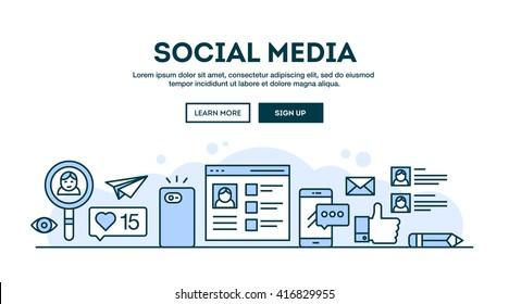 Social media, concept header, flat design thin line style, vector illustration