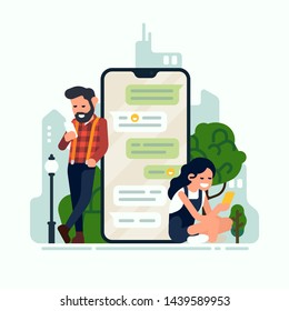 Social media concept illustration on texting, social media and online communication with man and woman interchanging messages. Two characters chatting via smartphone app