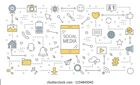 Social media concept ilustration. Global communication, sharing content and getting feedback. Using networks for business promotion. Marketing strategy. Isolated line vector illustration