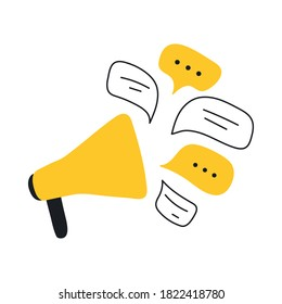 Social media concept, loudspeaker, and messages. Advertisement, announcement, message, alert. Flat line vector icon illustration on white