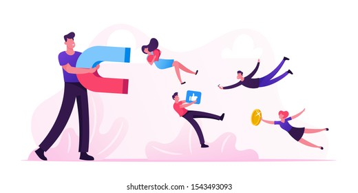 Social Media Concept. Man Holding Huge Magnet Attracting Likes, Feedback and Followers in Internet. Smm Influencer Strategy, Advertising Promotion Management Service. Cartoon Flat Vector Illustration