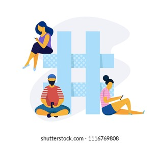 Social media concept with people.Hashtag flat vector concept. People with smartphones are sitting on hashtag sign.