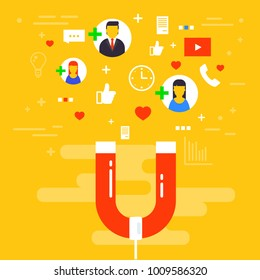 Social media concept vector illustration with magnet engaging followers and likes. Influence marketing or viral advertising campaign. Audience or customer retention strategy.