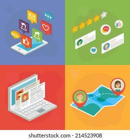Social media concept. Vector illustration, isometric style