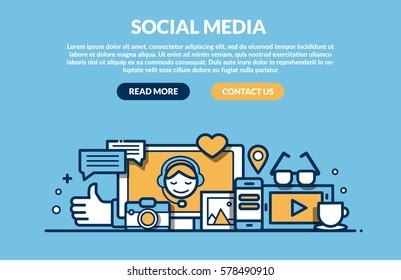Social Media Concept for web site. Vector illustration
