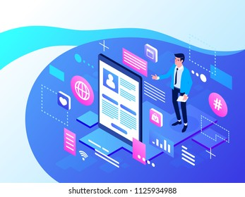 Social Media Concept for website. Isometric vector illustration