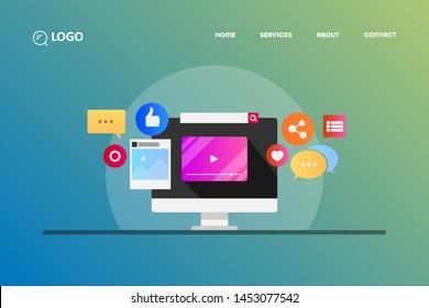 Social media content, Digital marketing, Social media icons  flat design vector illustration