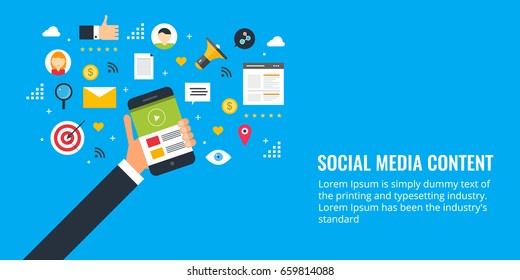 Social media content, social sharing, marketing flat design vector banner with icons isolated on blue background
