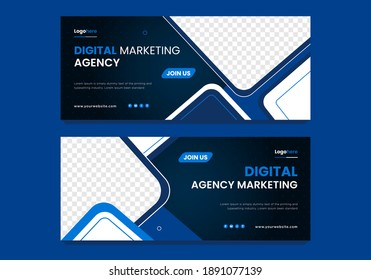 Social Media Cover and Web Banner Template Design. Vector Illustration template design. Blue and White color.