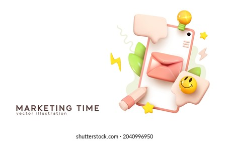 Social media creative idea. Realistic 3d design. Concept Online social network. Business communication applications. Marketing time. Mobile phone with volumetric icons. Vector illustration