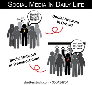Social media in daily life ( man chat with someone in crowd , transportation and ignore everything ) ( addict social network ) ( black , white & grey style )