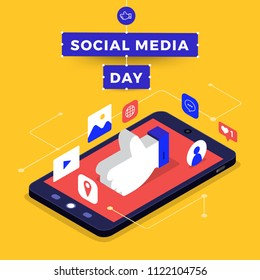 Social Media Day Vector Illustration. Connecting people together with cutting-edge technology.