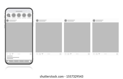 Social media design concept on a white background. Smartphone with carousel interface post on social network. Modern flat style vector illustration.