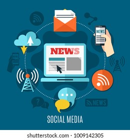Social media design concept set of laptop with news information on screen mail chat wifi and cloud decorative icons flat vector illustration