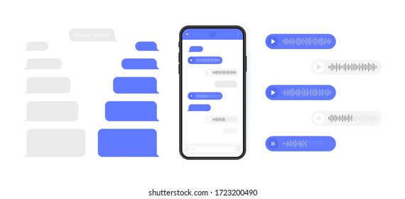 Social media design concept. Smart Phone with messenger chat screen and voice wave. Sms template bubbles for compose dialogues. Modern vector illustration flat style. - Shutterstock ID 1723200490