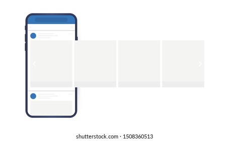 Social media design concept. Smartphone with interface carousel post on social network. Modern flat style vector illustration.