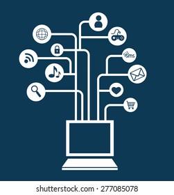 Social media design over blue background, vector illustration.