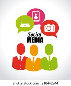 Social media design over white background, vector illustration