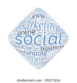Social Media Diamond Shape Vector Word Cloud on white background