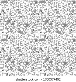 Social media doodle seamless pattern. Network hand drawn icons on white background. Vector illustration.