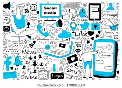 Social media doodle set. Collection of hand drawn sketches templates of people communication messaging chatting in global network or sharing news. SMS sending and online conversation illustration.